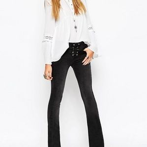 ASOS Black Wash Lace-Fly Flare Jeans, 34x32